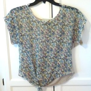 Blues and Pinks Flowery Top Blouse Size Small